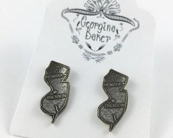 New Jersey Earrings, New Jersey Map, New Jersey Jewelry, Trenton, Newark, New Jersey Gift, New Jersey Stud Earrings, New Jersey Charm