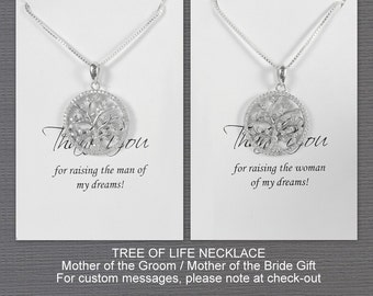 Tree of Life Necklace, Mother of the Groom Gift, Mother of the Bride Gift Necklace, Gift for Mom, Sterling Silver Tree of Life Necklace