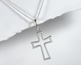 Plain and Simple Sterling Silver Necklace, Sterling Silver Cross Necklace, Baptism Gift, Confirmation Gift, Christmas Gift, Cross Necklace