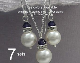 SET of 7 Navy Bridesmaid Jewelry Set, Swarovski White and Dark Sapphire Jewelry Set, Dark Blue Wedding Jewelry Set, Navy Wedding Jewelry Set
