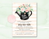 Printable Baby Shower Invitation, Baby Shower Invite, Baby Shower Invitation Girl, Blush Watercolor Floral Digital Baby Shower Invitation