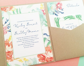 Tropical Wedding Invitations, Beach Wedding Invitations, Wedding Invites, Destination Wedding Invitations, Tropical Soiree, Mint and Coral