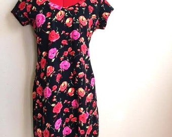 Vintage Black And Pink FLORAL COTTON Dress / Form Fitting / Womens Size Large