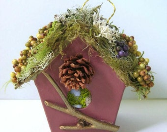 Birdhouse Ornament, Christmas Tree Ornament, Birdhouse Moss Lichen Berries Bird Eggs, Rustic Christmas Decor
