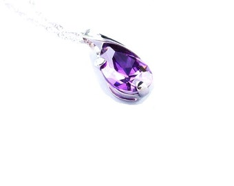Sterling  Silver  Amethyst  Pendant  ,  Faceted Amethyst  Pendant , Sterling Silver Chain