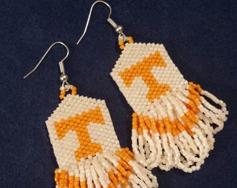 beaded orange and white earrings, fringed, tassels, dangles, Tennessee