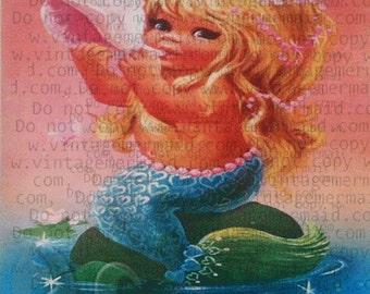 FABRIC BLOCK MERMAID Baby Mermaid Fabric Pint tlm65