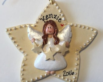 Personalized Star Angel Ornament/ angel / heaven / religious/ custom personalizing /Girl/ children's ornament