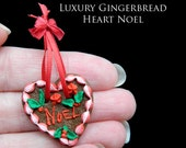 Luxury Christmas German Gingerbread Heart Noel - Artisan fully Handmade Miniature in 12th scale. From After Dark miniatures.
