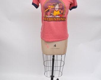 vintage tshirt ringer tshirt vintage shirt ACCOUNTANT accounting 80s retro 1980s small