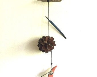 Colbalt Feather Mobile//Wall Hanging - Found and Made Objects - Handmade