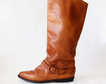 Vintage White Mountain Brown Leather Riding Boots, size 7.5