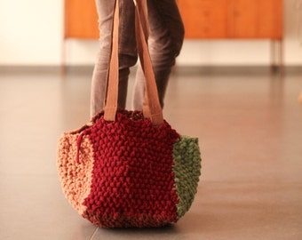 HandBag---Up-CycledTricot----An amazing addition to any accessory collection-Each side knitted a different color--Gift under 50 USD
