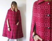 70s wool cape coat. woven pink wool coat. bright cape coat - one size