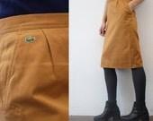 80s LACOSTE skirt. mustard chino skirt. high waist pecil skirt - medium