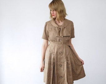 50s dress. shirtwaist dress. pastel silk dress. 50s pleated dress - medium to large