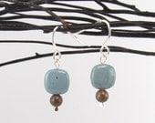 Leland bluestone and Petoskey stone sterling silver earrings 0104