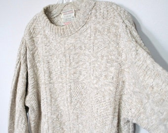 Men's Vintage Sweater Cotton Jute Pullover Fisherman Cardigan Sweater Lord Jeff Size Medium