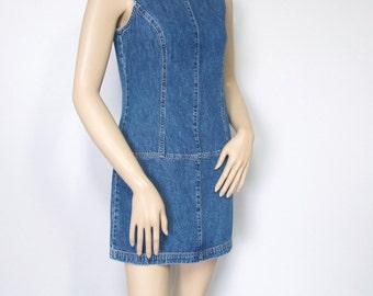Vintage Dress Denim Blue Jean Dress Mini Drop Waist Dress Chambray Size 2