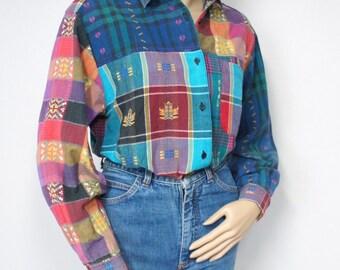 Blouse Colorful Vintage Southwest Style Patchwork Design Cotton Blouse 70's - 80's Size Medium