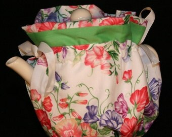 Tea Cozy, Spring flowers, Wraps Around Tea Pot