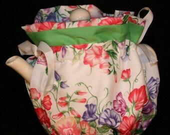 Tea Cozy, Spring flowers, Wraps Around Tea Pot