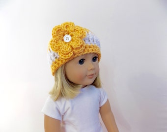 American Girl Doll Size Hat, 18 Inch Doll Hat, Doll Hat with Flower