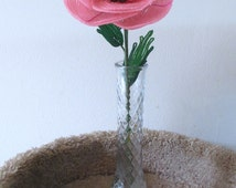 Giant Poppy, pink - French Beaded Flower