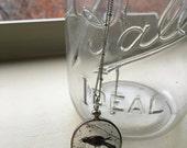 Crow silver locket long necklace