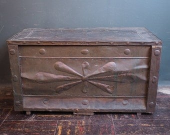 Primitive Paneled Tin Wooden Trunk / Folk Art Chest