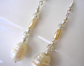 Baroque Pearl Earrings, Pearl Bridal Earrings, Wedding Jewelry, Cream Pearls, Dangly Drop, Pierced, Silver, Bohemian, Boho, Long, Downton