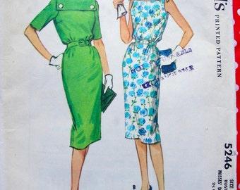 UNCUT * 1950s McCalls Pattern 5246 - Fabulous  Misses' Cocktail Evening Day Slim Sheath Dress *  Size 18..bust 38