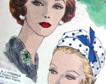UNCUT * 1960s  Vogue  Hat Pattern 9922  by designer Sally Victor  * Head Size 21.5 * ORIGINAL PATTERN