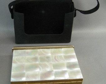 Mid Century Mother of Pearl Compact, Vintage 1950's Compacts, Purse Swinglok Compact w/ Carry Purse Vintage Compacts,1950's Volupte Compacts