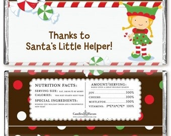 12 Santa's Little Elfie Christmas Candy Bar Wrappers - Personalized Custom Sweet Treat Christmas Party Favors