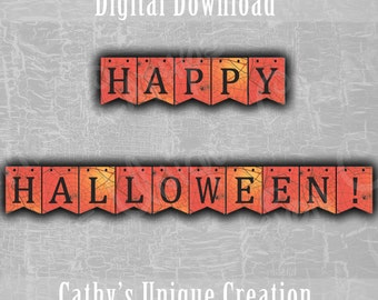 Spider Happy Halloween Banner, Creepy Spider Web, Black and Orange, October 31st, Bunting Banner, Wall Sign, DIY INSTANT DIGITAL download