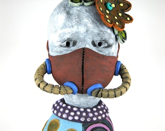 Auto Love - Gas Mask Figurine Doll Flowers Circles Polka Dots Tubes Blue Pink Brown Purple Respirator Muzzle Ceramics Sculpture Clay Artwork
