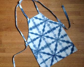 indigo shibori blue dyed toddler 2-5yo  apron
