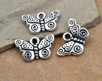 Butterfly Charm,  4pcs,  15x8mm, Silver Plated Charms, Butterfly With Spiral, Jewelry Findings