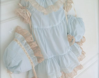 Baby or Girl Pastel Baby Blue Vintage Inspired Portrait Pageant Dress Size 6m to 12