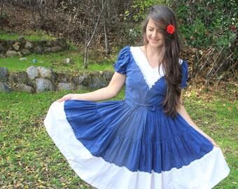 MIDNIGHT CLEAR - 1970s Square Dance Dress De Loris Folk Bohemian Boho Hippie Gypsy Dancer Blue White Dotted Swiss Ruffled Lace Twirl Med