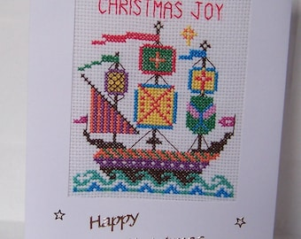 Happy Christmas Galleon or Ship Handmade  Completed Cross Stitch  Card, Greeting Card, Hand Stitched cross stitch christmas card