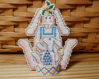 Cross Stitch Ornament or Decoration - Momma Hare  - Free U.S. Shipping