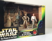 1990's Vintage Star Wars Figures, Purchase of the Droids Cinema Scene with Diorama from A New Hope - Luke Skywalker, C-3PO, Uncle Owen Lars