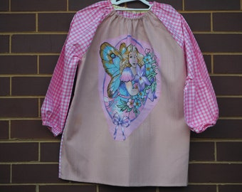 Age 9 to 12 girls craft apron, children's school art smock, long sleeve waterproof front. Pink check, large fairy.