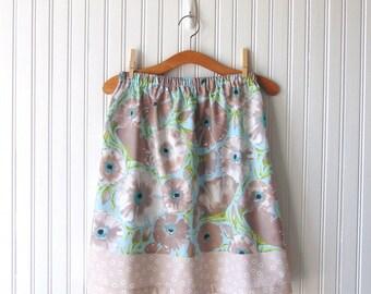 Floral Cotton Skirt, A-Line Skirt, Women's Skirt - Size 10, Spring Skirt, Aqua Blue, Grey and Green Floral Skirt, Summer Skirt, Cotton Skirt