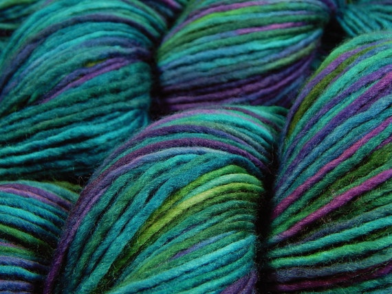 Hand Dyed Yarn : Hand Dyed Yarn - DK Weight Superwash Merino Wool Singles Yarn - Aegean ...