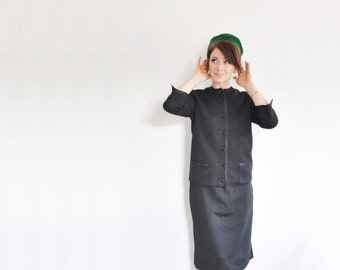 black mid century 2 pc suit . satin trimmed matching jacket and skirt .extra small.small.xs .sale