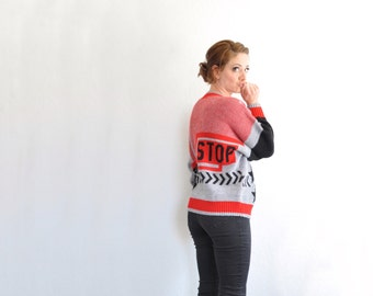 FUN . STOP . novelty kitsch sweater . red black gray .medium.large