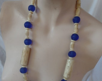 VIntage Morrocan Necklace in Faux Horn and Blue Crystal Beads